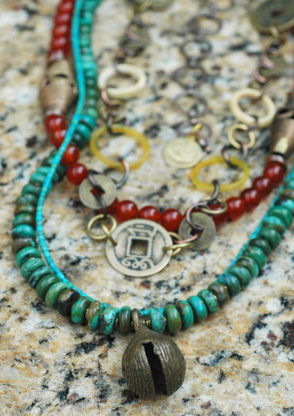 Turquoise, Carnelian, Bone Chain & African Brass Bell Pendant Necklace