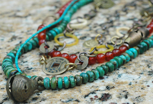 Turquoise, Carnelian, Bone and African Brass Bell Chain Necklace