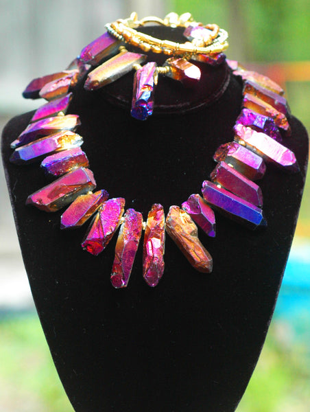 Stunning Exotic Modern Futuristic Gold and Purple Jewelry