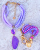 Gorgeous lavender, fuchsia and gold druzy necklace and elegant bracelet