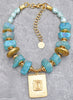 Mystical Aqua Blue Quartz, Ice Glass Pearls and Turkish Gold Necklace
