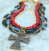 Black and red motorcycle cross necklace