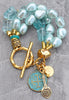 Mystical Icy Blue Quartz Nugget, Ice Glass Pearl & Gold Charm Bracelet