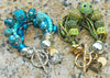 Gypsy Boho Chic Blue and Green Heart Charm Statement Bracelets