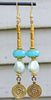 Mystical Aqua Blue Glass, Ice Glass Pearls & Grecian Gold Coin Earrings