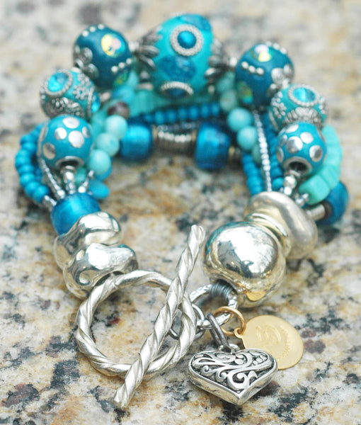 Glitz & Glam Blue and Silver Gypsy Chic Heart Charm Statement Bracelet