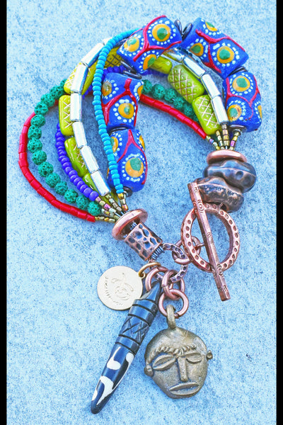 Ethnic African Inspired Krobo Bead, Tusk and Brass Mask Charm Bracelet