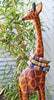 Rustic African Tribal Blue Krobo Bead and Brass Mask Charm Bracelet