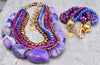 gorgeous purple, magenta, periwinkle and gold statement jewelry