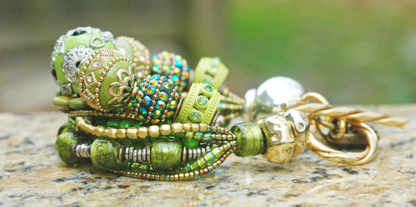 Glitz & Glam Green and Brass Gypsy Chic Heart Charm Statement Bracelet