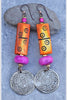 bohhemian gypsy tribal pink and yellow medallion earrings