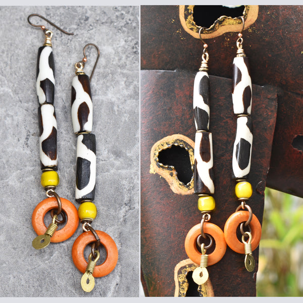 Exotic Giraffe Print and Orange Ring Safari Tribal Statement Earrings
