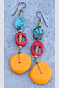 tibetan style turquoise, red coral and yellow disc boho earrings