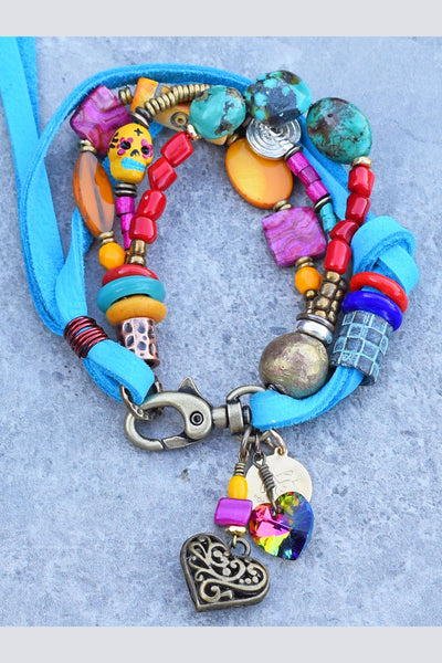 unique artisan mixed media turquoise, pink, yellow, red and leather hear charm bracelet