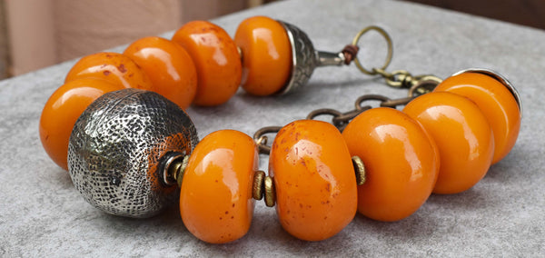 Bold and Ethnic Tibetan Copal Amber Resin and Hammered Silver Choker