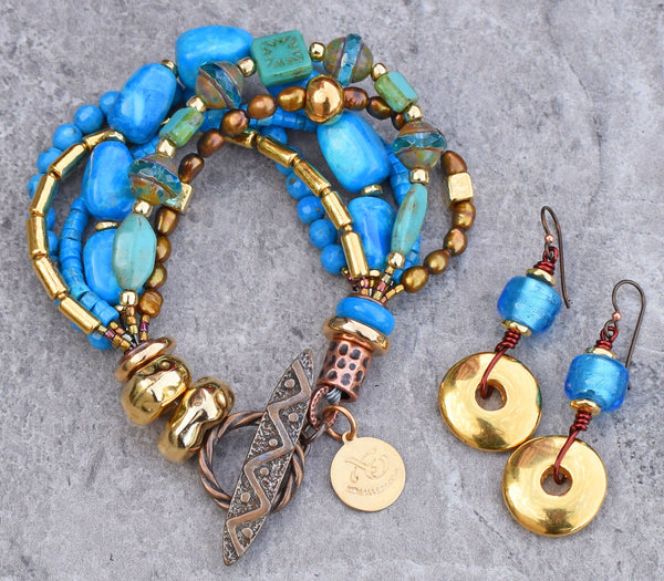 Turquoise and Gold Multi-Strand Artisan Statement Bracelet and Earrings