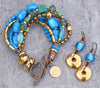 Turquoise and Gold Multi-strand Bracelet and Gold Disc Earrings
