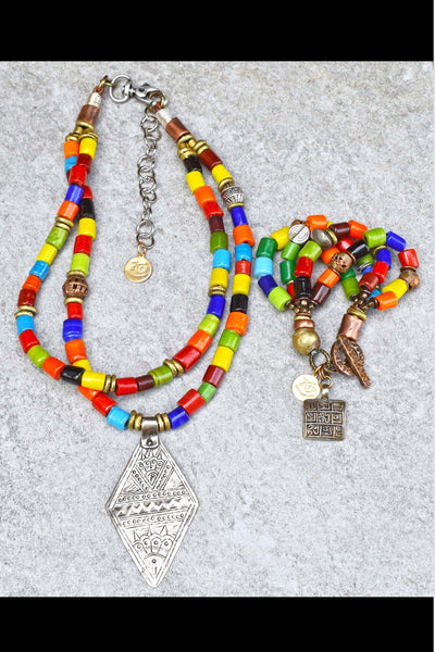Colorful Tibetan Glass, African Brass & Silver Tibetan Jewelry