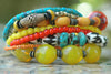 African Bone, Yellow, Orange, Turquoise & Tibetan Tusk Tribal Bracelet