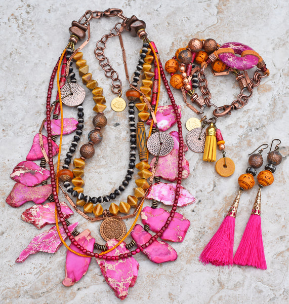 Striking and Bold Pink, Yellow & Copper Desert Gypsy Statement Jewelry