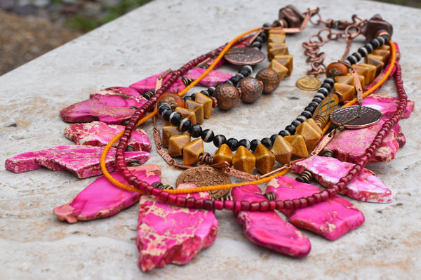 Striking and Bold Pink, Yellow & Copper Desert Gypsy Statement Necklace