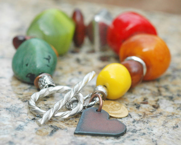 Colorful Mixed Media, Silver, Wood and Iron Heart Charm Bracelet