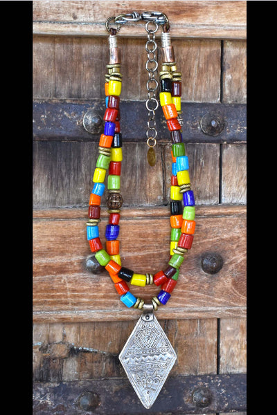 Colorful Tibetan Glass, African Brass & Silver Bedouin Pendant Necklace
