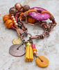 Striking and Bold Pink, Yellow & Copper Desert Gypsy Statement Bracelet