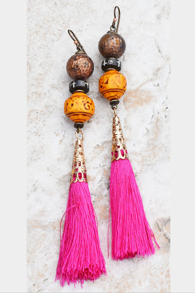 Striking and Bold Pink, Yellow & Copper Desert Gypsy Statement Earrings