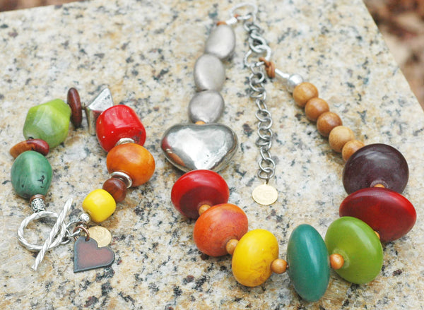 Colorful African Copal Resin, Wood and Silver Heart Statement Jewelry