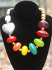 Colorful African Copal Resin, Wood and Silver Heart Statement Necklace