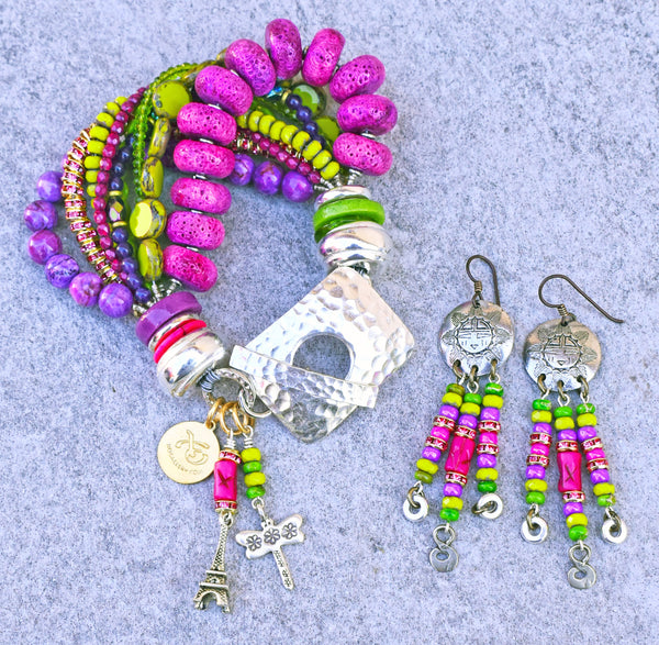 Fun Spring Green, Pink, Purple and Silver Paris-Inspired Charm Bracelet and Chandelier Earrings