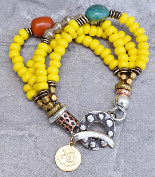 Bright Yellow Glass, Turquoise, Amber and Silver Tibetan Bracelet