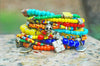 Colorful Boho Mexican-Inspired Skull Mixed-Media Statement Bracelet