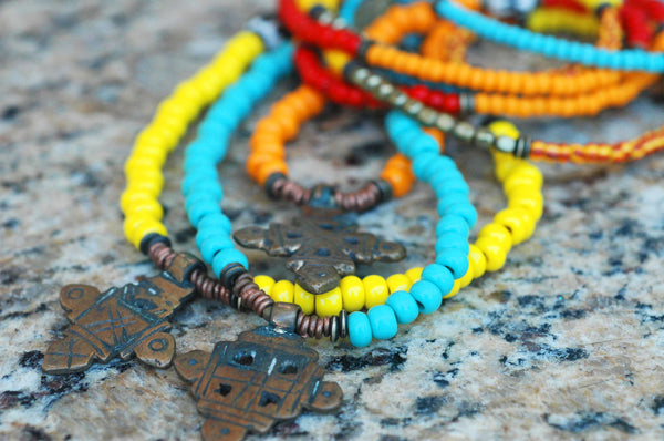 African Tribal Orange, Yellow, Blue Glass and Coptic Crosses Necklace