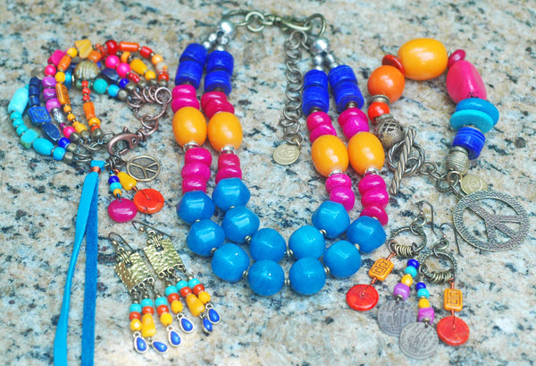 Gypsy Hippie Bohemian Chic Colorful Artisan Statement Jewelry