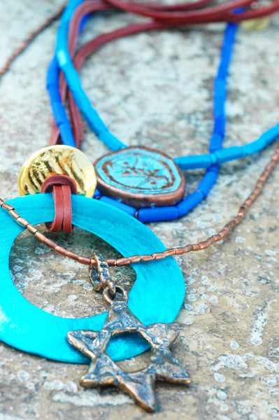 Island Blue Bohemian Statement Necklace with Star of David
