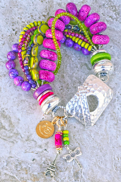 Fun Spring Green, Pink, Purple and Silver Paris-Inspired Charm Bracelet