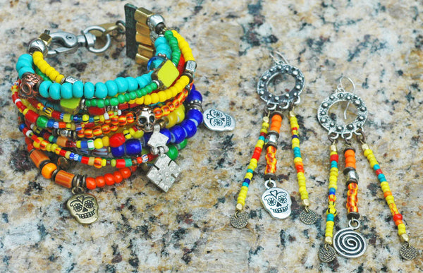 Mexican Inspired Colorful Glass Bead & Skull Statement Jewelry