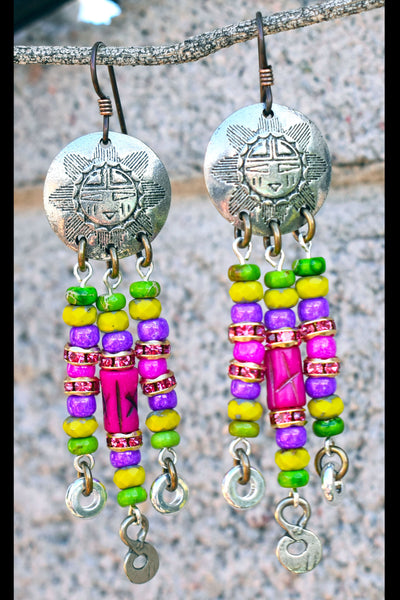 Fun Spring Green, Pink, Purple and Silver Paris-Inspired Chandelier Earrings