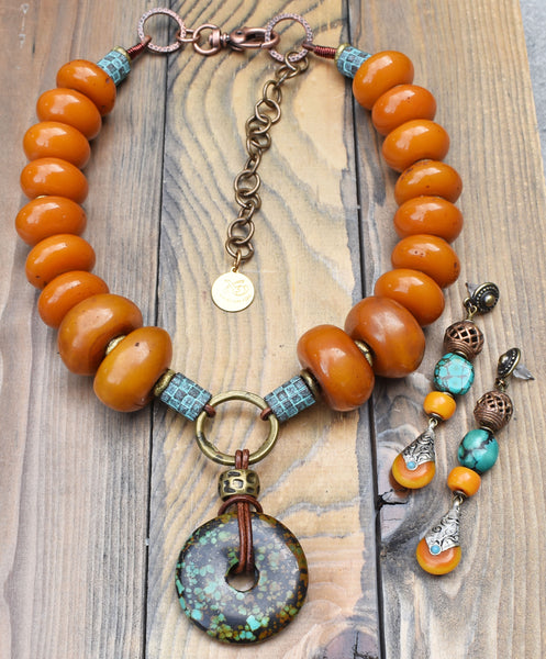 Tibetan Inspired Copal Amber Resin and Turquoise Necklace and Earrings