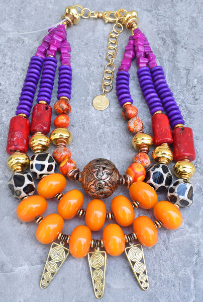 Exotic Modern Tribal Bold Orange, Purple, Red, Gold Statement Necklace