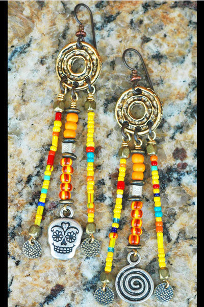 Mexican Inspired Colorful Glass Trade Bead & Skull Chandelier Earrings