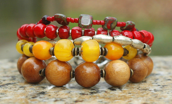 Tibetan Inspired Red Coral, Yellow, Wood & Brass Heart Charm Bracelet