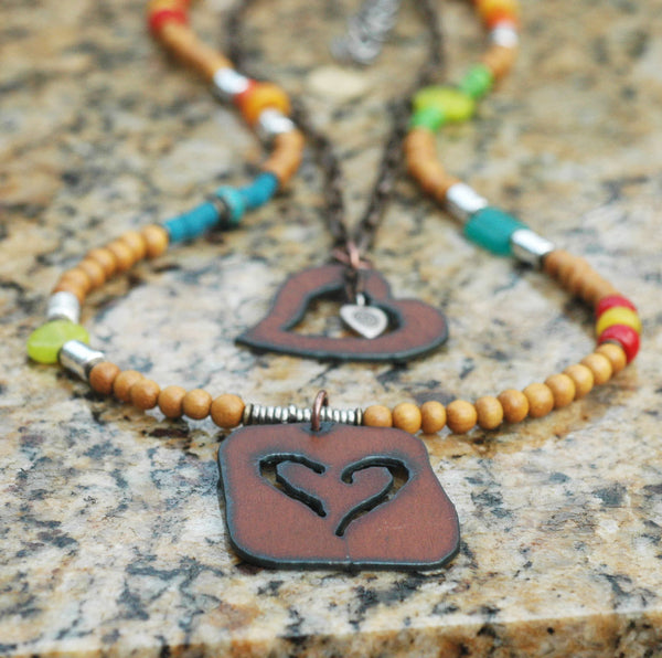 Colorful Bohemian Wood, Chain and Rustic Iron Heart Pendant Necklace