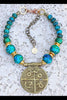Aegean Blue, Chrysocolla, Gold and Tibetan Shield Statement Necklace