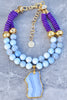 Elegant Double Strand Periwinkle, Purple & Gold Pendant Choker Necklace