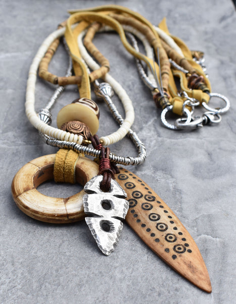 Tribal Style Ox Bone Ring, Medicine Stick and Rustic Arrowhead Pendant Necklace