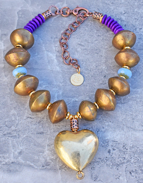 Unique Bold Vintage African Brass Heart Amulet Choker Necklace