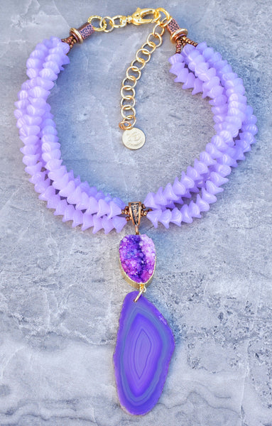 Elegant and Unique Lavender Glass and Purple Druzy Agate Slab Necklace